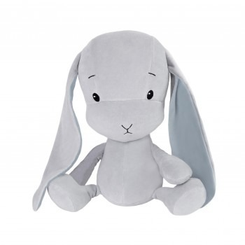 Effik Królik M personalizowany - Szary z niebieskimi uszami
