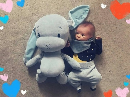 Personalized Bunny Effik M - Gray with Blue ears 35 cm