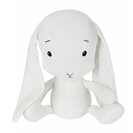 Personalized Bunny Effik M - White + dots by Małgosia Socha 35 cm