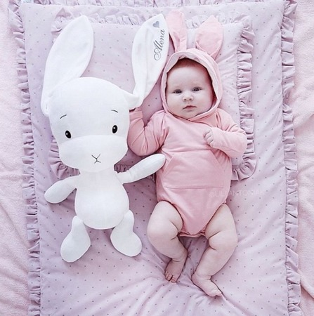 Personalized Bunny Effik M - White with White Ears 35 cm