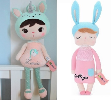 Personalized Set of Dolls -  Unicorn Girl and Bunny in Pink Dress