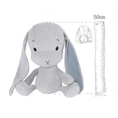 Effik Królik L personalizowany - Szary z Niebieskimi uszami 50 cm