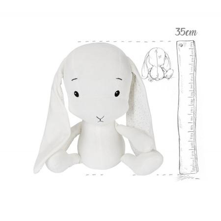 Effik Królik M personalizowany - Biały + kropki Małgosia Socha 35 cm