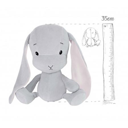 Effik Królik M personalizowany - Szary z Różowymi uszami 35 cm
